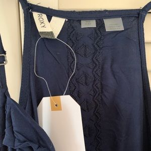 Sz M. NWT. Roxy Navy Wrap Day Dress Racer Back.
